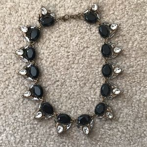 Black, Crystal & Gold Edgy Statement Necklace